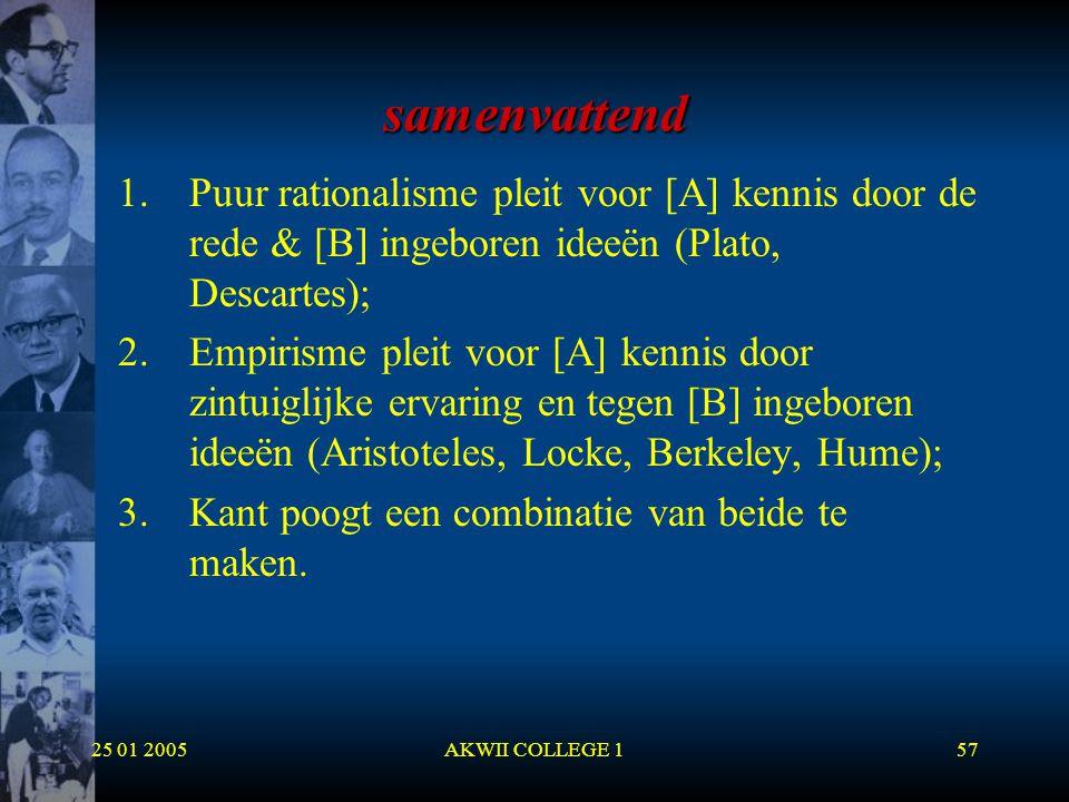 samenvattend Puur rationalisme pleit voor [A] kennis door de rede & [B] ingeboren ideeën (Plato, Descartes);